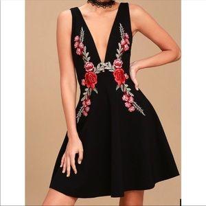 Lulu's Romantic Rose Embroidered Skater Dress